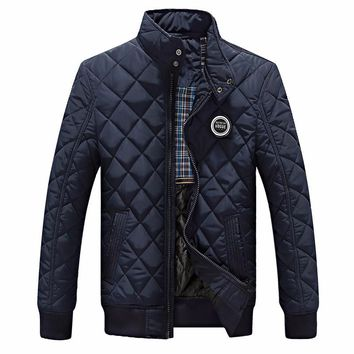 Winter Jacket Men New Autumn Men's Casual Cotton Quilted Jackets Slim Fit Fashion Stand Collar Solid Warm Coats