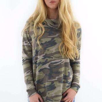 Sweet Salvation Camo Cowl Neck Top