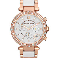 Michael Kors Ladies Parker Rose Gold Tone and Crystal Watch