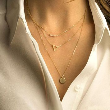 VONESC6 New Fashion European Simple Gold Plated Chain Necklace Lariat Charm Multi Layers Bar Coin Necklaces&Pendants For Women Gift