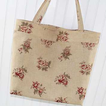 Vintage Floral Print Extra Large Tote Bag, Market Bag, Reusable Grocery Bag, MK128