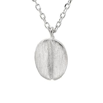 Sterling Silver Brush Metal Coffee Bean Necklace