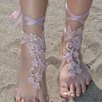 Pink Beach wedding barefoot sandals, wedding anklet, country wedding shoes sandles barefoot anklets bridal spectacular barefeet Bridal Lace