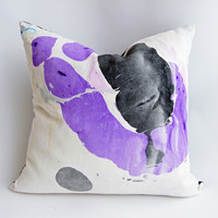 """24"""" Hand Inked Pillow, Violet Sea"""