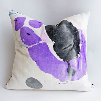 "24"" Hand Inked Pillow, Violet Sea"