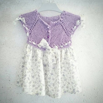 Lavender baby dress / One of a kind / 6 -12 months baby girl / Baby shower  gift / hand knitted / hand sewed