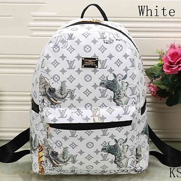 LV Tide brand men and women models fashion backpack F-KSPJ-BBDL White