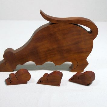wooden puzzle scroll saw cut mouse oak wood - Handmade Crafts by BasketsByDebi
