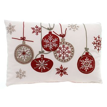 Christmas ORNAMENTS PILLOW Fabric Cotton Holiday 53016A