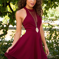 Romina Cut-Out Dress - Burgundy
