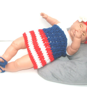 Newborn dress, Baby girl red white and blue, 4th of July clothes, unique infant apparel, crochet photo prop, shower gift, summer accessories