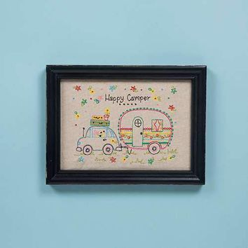 Happy Camper Embroidered Wall Art