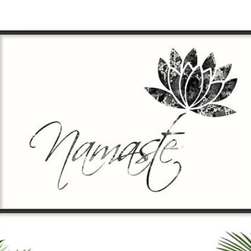 Namaste Yoga Poster Yoga Watercolor Yoga Art wall decor YOGA PRINT Lotus Flower Art Stone texture Zen decor Yoga Studio Art Yoga Silhouettes