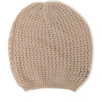 With Love From CA Slouchy Basket Weave Beanie - Womens Hat - White - One