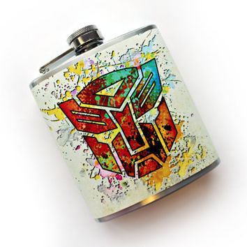 Transformers Inspired Abstract Art Flask