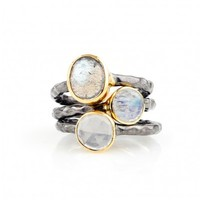 Labradorite, Moonstone, and Milky Quartz Mixed Metal Stacking Ring Set