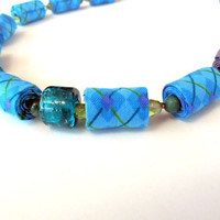 Bright Turquoise fashion fiber necklace