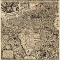 Rare old map of America from 1562, Cotton canvas, Pull down frame optional, First use of name California, Sea creatures, sirens, cannibals