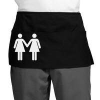 Lesbian Women Holding Hands LGBT Dark Adult Mini Waist Apron, Server Apron
