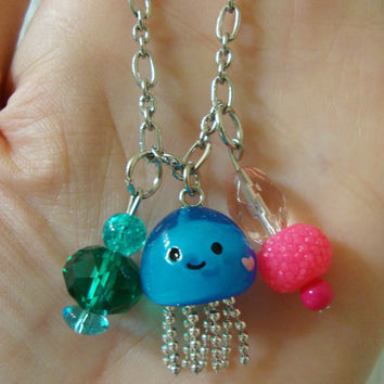 Jellyfish Kawaii Charm Necklace with Beads