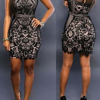 Black Patchwork Lace Hollow-out See-through Sleeveless Bodycon Club Mini Dress
