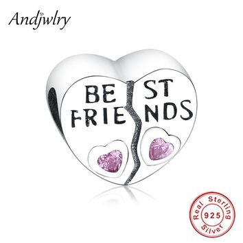 Fit Pandora Charms Bracelets 925 Silver Original Beads Best Friend Pink CZ Love Heart Charms Silver Beads For Jewelry Making