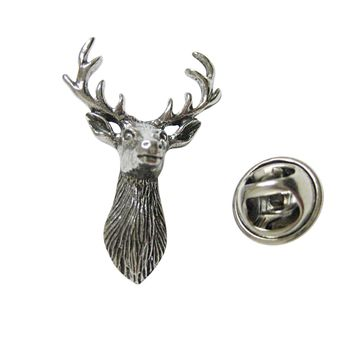 Silver Toned Textured Stag Deer Head Lapel Pin