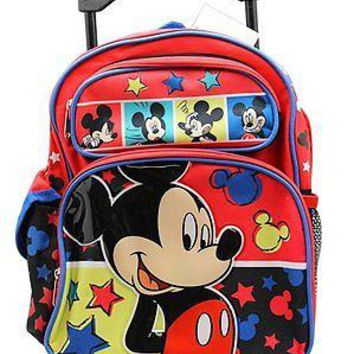 """Disney Mickey Mouse Photos Boys 12"""" Canvas Red & Blue Rolling Backpack"""