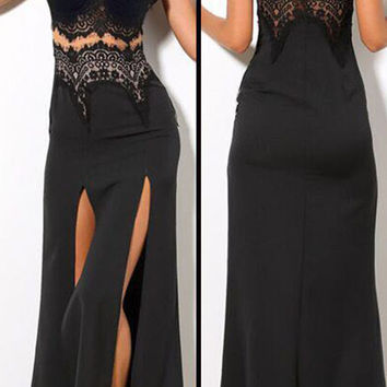 Black Lace Spaghetti Strap Long Dress