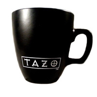 Tazo Tea Mug Starbucks Matte Black White Logo 2011 Coffee Cup 12.5oz k138