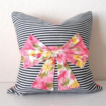 "Vintage Pillow Cover Navy Stripes with Ikat Bow 16""x16"""