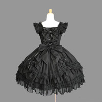 Palace Black Cotton Square Neck Feifei Sleeves Lace Trim Gothic Lolita Dress
