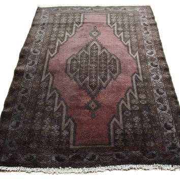 4x6 Overdyed Vintage Persian Rug Gray Deep Red 1310