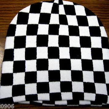 White and Black Checker Checkered Winter Knitted Skull Beanie Ski Cap-New!