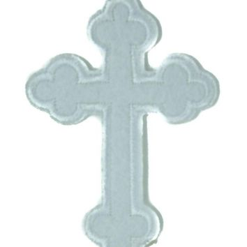 ac spbest Gothic White Cross Patch Iron on Applique Occult Clothing