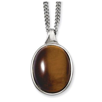 Stainless Steel Tiger's Eye Pendant Necklace