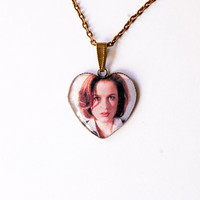 "FBI Special Agent Dana Scully (Gillian Anderson) From Television Series ""The X-Files""- Handmade Heart Cameo Pendant Necklace"