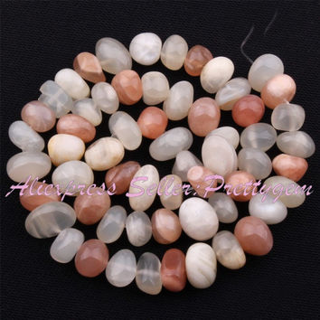 Free shipping 5x7-7x11mm Freeform Multicolor Moonstone Gem Stone For DIY Necklace Bracelet Jewelry Making Spacer Loose Beads 15""