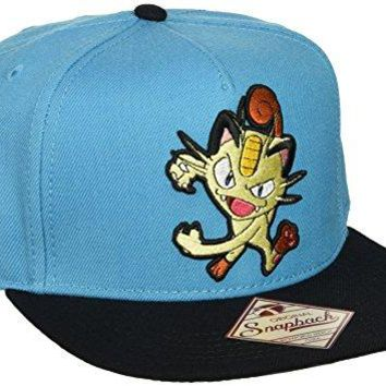 BIOWORLD Pokemon Meowth Embroidered Turquoise Snapback Cap