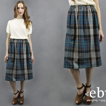 Plaid Knee Skirt Plaid Midi Skirt Blue Plaid Skirt Plaid Wool Skirt Secretary Skirt 70s Skirt 1970s Skirt Fall Skirt L XL