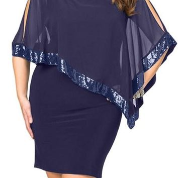 Navy Blue Sequined Mesh Overlay Poncho Plus Size Dress