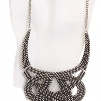 Vintage Silver Structured Woven Design Necklace