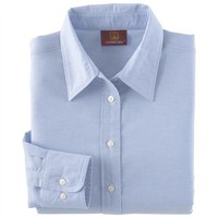 Harriton Womens Long Sleeve Oxford Button Down Dress Shirt with Stain-Release M600W