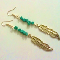 Bohemian Hippie Turquoise and Feather Earrings