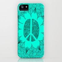 Peace Doodle Turquoise iPhone Case by Kayla Gordon | Society6
