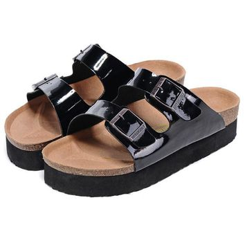 Birkenstock Leather Cork Flats Shoes Women Men Casual Sandals Shoes Soft Footbed Slippers-34