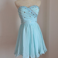 Love Beadings Sweetheart Chiffon A-line Length Prom dresses/Homecoming Dress/Party dresses