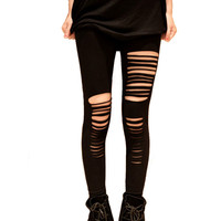 Black Ripped Leggings Torn Slashed Cut GOTH Club PUNK Emo RAVE