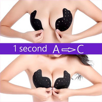 breathable hollow out wings sexy plus size push up backless strapless invisible silicone bra for women,sticky underwear lingerie