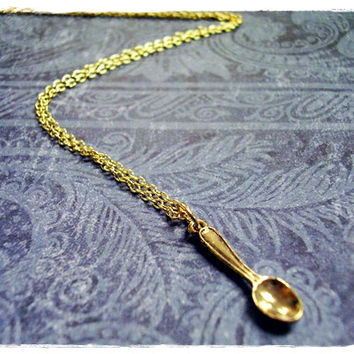 Tiny Golden Spoon Necklace - Antique Gold Pewter Spoon Charm on a Delicate 18 Inch Gold Plated Cable Chain